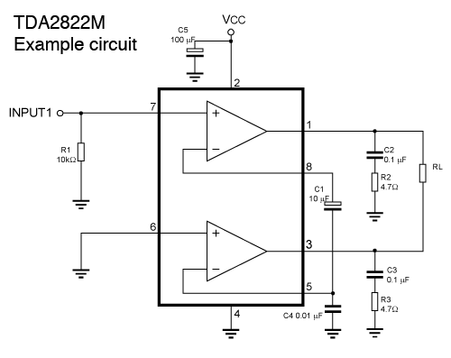 Tda2822 Mono Amplifier Circuit - Schematic - Tda2822 Mono Amplifier Circuit
