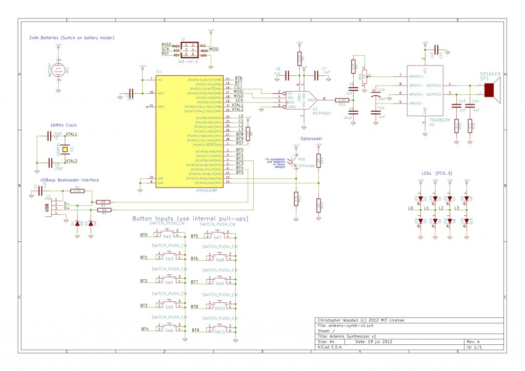 Artemis Synthesizer Rev. A schematic